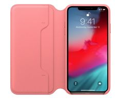 iPhone XS Max Leather Folio-Peony Pink