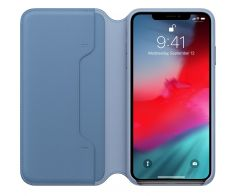 iPhone XS Max Leather Folio - Cornflower Blue