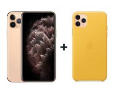 Apple iPhone 11 Pro Max With FaceTime Gold 64GB - G (+) iPhone 11 Pro Max Leather Case - Meyer Lemon