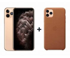 Apple iPhone 11 Pro Max With FaceTime Gold 64 GB - P (+) iPhone 11 Pro Max Leather Case - Saddle Brown