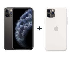 Apple iPhone 11 Pro With FaceTime Space Gray 64GB - G (+) iPhone 11 Pro Silicone Case - White