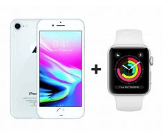Apple  iPhone 8 With FaceTime Silver 256GB - P (+) Apple Watch Series 3 - 38mm GPS Silver Aluminium Case with White Sports Band- S