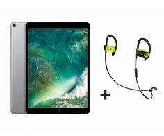 Apple iPad Pro 10.5-inch, 64GB, Wi-Fi, Space Gray with FaceTime - P (+) Beats PowerBeats3 In-Ear Wireless Earphones with Mic Yellow