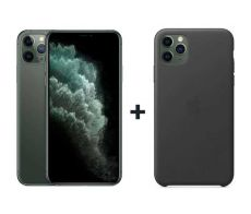 Apple iPhone 11 Pro Max With FaceTime Midnight Green 64GB - G (+) iPhone 11 Pro Max Leather Case - Black