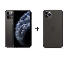 Apple iPhone 11 Pro Max With FaceTime Space Gray 64GB - G (+) iPhone 11 Pro Max Silicone Case - Black