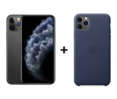 Apple iPhone 11 Pro Max With FaceTime Space Gray 64GB - P (+) iPhone 11 Pro Max Leather Case - Midnight Blue