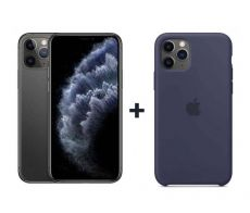 Apple iPhone 11 Pro With FaceTime Space Gray 256GB - G (+) iPhone 11 Pro Silicone Case - Midnight Blue