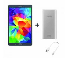 Samsung Galaxy Tab S 8.4-inch, 16GB, Wi-Fi + 4G, Gray RN - P + Samsung 10000mAh, Dual Port Power Bank with Type-C Cable, Silver