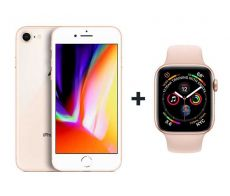 Apple iPhone 8 With FaceTime Gold 64GB - G (+) Apple Watch Series 3  - 38mm GPS Gold Aluminium Case with Pink Sports Band - S