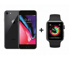 Apple iPhone 8 With FaceTime Space Gray 64GB - G (+) Apple Watch Series 3 - 38mm GPS Space Gray Aluminium Case with Sports Band - S