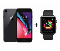 Apple  iPhone  8 With FaceTime Space Gray 256GB - P (+) Apple Watch Series 3 - 42mm GPS Space  Gray Aluminium Case with Sports Band - S